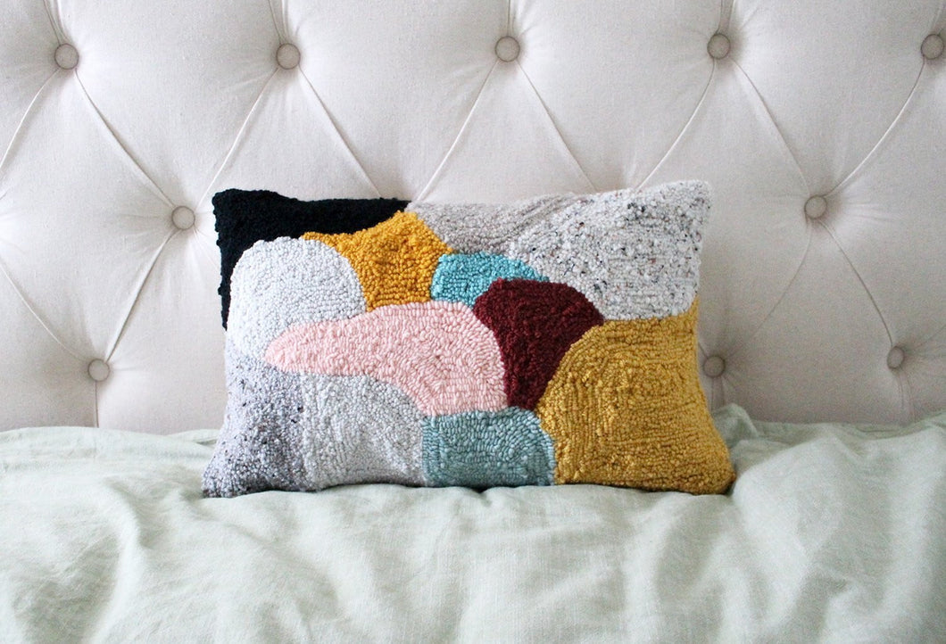 Lumbar Punch Needle Colorburst Abstract Pillow Cover - 12