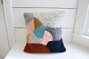 Punch Needle Colorburst Abstract Pillow Cover - 18""