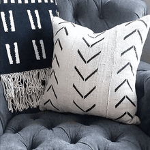 Load image into Gallery viewer, Catherine - White with Black Arrows African Mud Cloth Pillow Cover