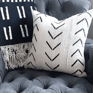 Catherine - White with Black Arrows African Mud Cloth Pillow Cover