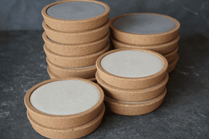 Large Concrete and Cork Coasters - Set of 4