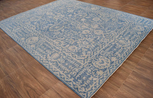 Hand-Knotted Denim Blue 8'x10' Argentinian Wool Rug