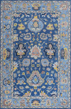 Load image into Gallery viewer, Blue Traditional Hand-Tufted 5'x8' Wool Rug