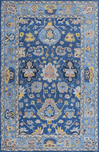 Blue Traditional Hand-Tufted 5'x8' Wool Rug