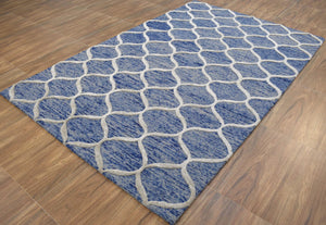 Blue Hand-Tufted 5'x8' Patterned Rug
