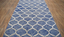 Load image into Gallery viewer, Blue Hand-Tufted 5'x8' Patterned Rug