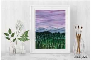 Hazy Purple Landscape Print