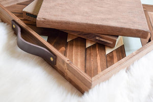 Wheat Wood Tray with Handles