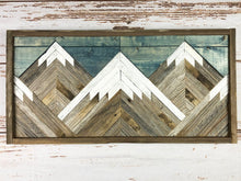 Load image into Gallery viewer, Reclaimed Wood Mountain Tops w/ Blue Sky Wall Art