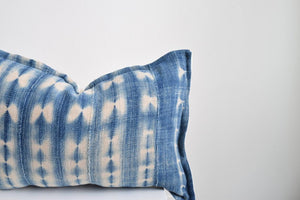 Indigo with White Mini Lumbar African Mud Cloth Pillow Cover