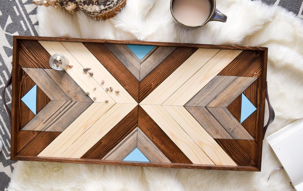 Coastal Wood Tray with Handles