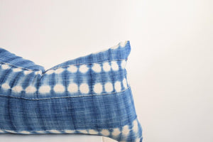Indigo with White Tie Dye Lines African Mud Cloth Pillow Cover