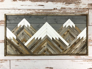 Reclaimed Wood Mountain Tops w/ Grey Sky Wall Art