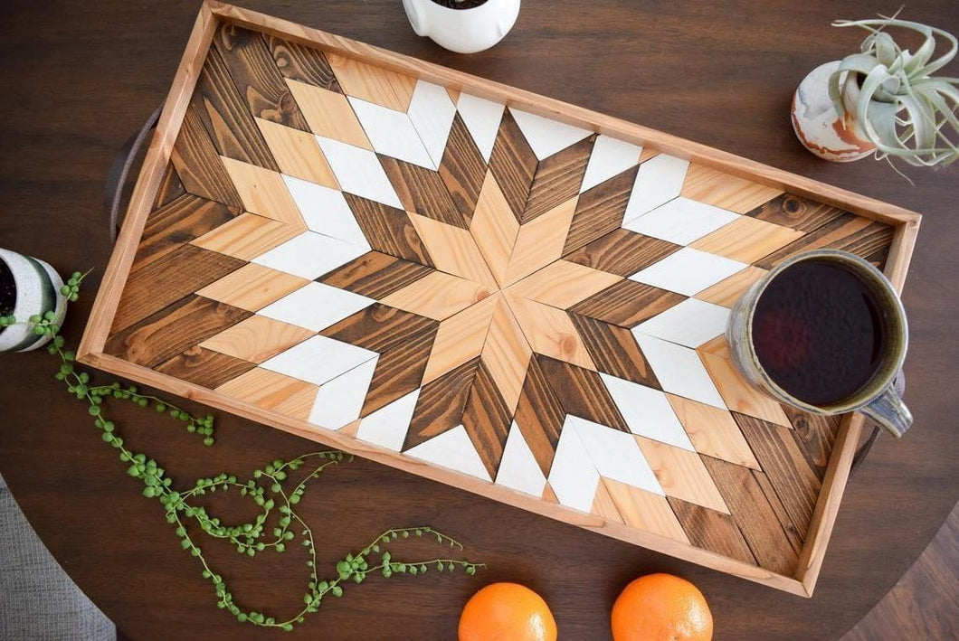 Hunter Star Wood Tray with Handles