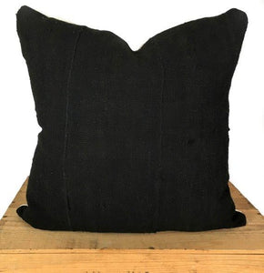 Plain Black African Mud Cloth Pillow Cover - 18""