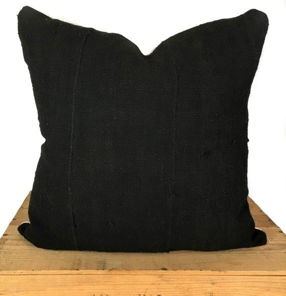 Plain Black African Mud Cloth Pillow Cover - 18