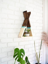 Load image into Gallery viewer, Teepee Floating Shelf with Aqua Stripe and Natural Bottom