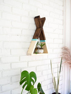 Teepee Floating Shelf with Aqua Stripe and Natural Bottom