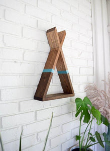 Teepee Floating Shelf with Teal Stripe
