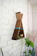 Load image into Gallery viewer, Teepee Floating Shelf with Teal Stripe