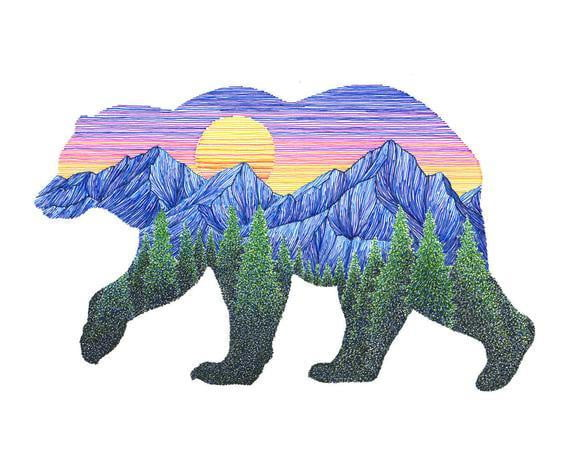 Sunset Bear Print