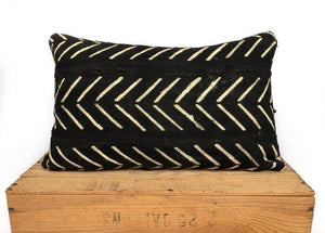 Catherine - Black with White Arrows African Mud Cloth Pillow Cover