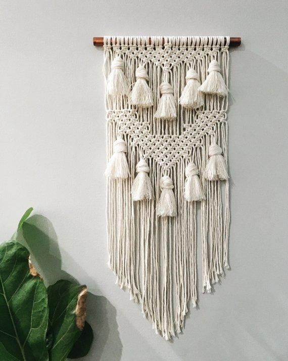 Handmade Macrame Wall Hanging with Copper Rod