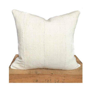 Jane - Plain White African Mud Cloth Pillow Cover