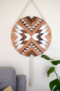 Pueblo Wood Wall Art Macrame
