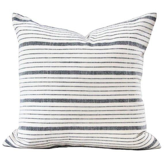 Black White Grey Striped Pillow Cover