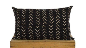 "Black and White African Mud Cloth Pillow Cover - 12""x20"""
