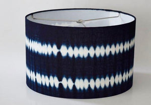 Hand-Dyed Indigo Mud Cloth Lampshade