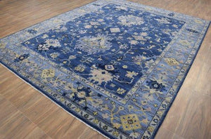 Hues of Blue Hand-Knotted 8'x10' Area Rug