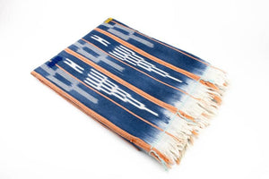 Orange River - Indigo Blue Ikat Baule African Throw Blanket