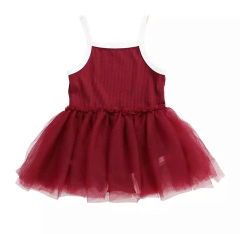 Red Ribbed Tutu Romper