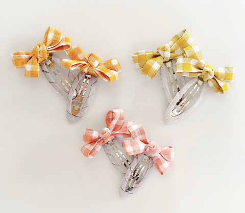 Gingham Bow Pigtail Clip Set