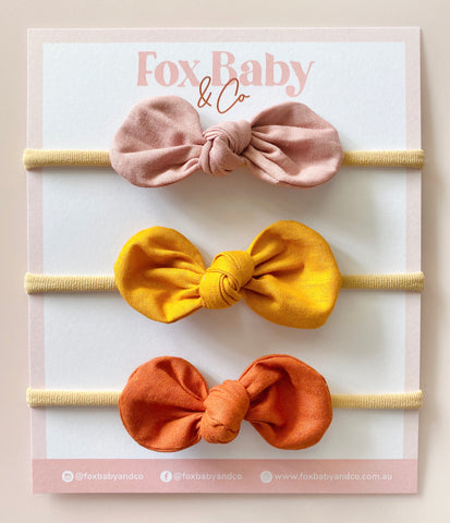 HARPER BOW SET - Dusty Rose, Mustard & Rust