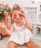 Clear/Pink Flower Sunglasses