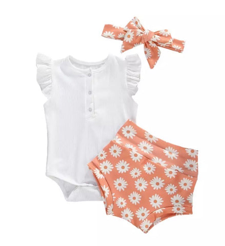AUDREY - Blush Daisy set with matching headband
