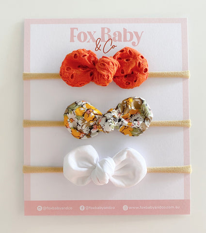 Harper Bow - Burnt Orange Broderie , Mustard Floral & White