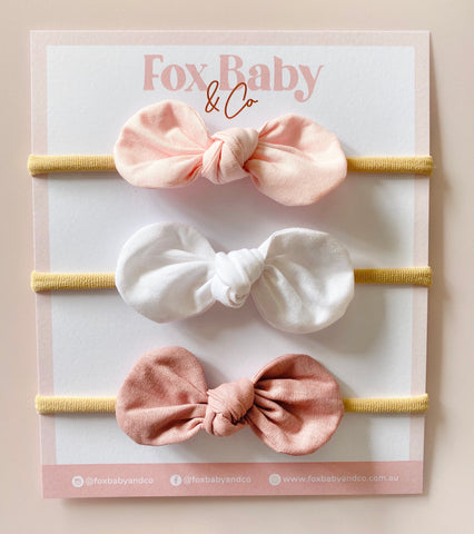 HARPER BOW SET - Baby pink, White & Dusty Rose