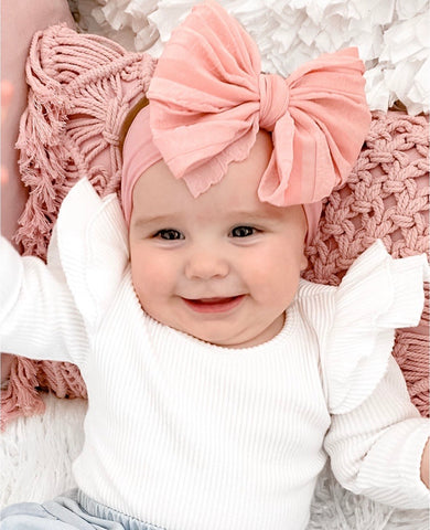 Large Ruffle Bow Headband - Dusty Rose