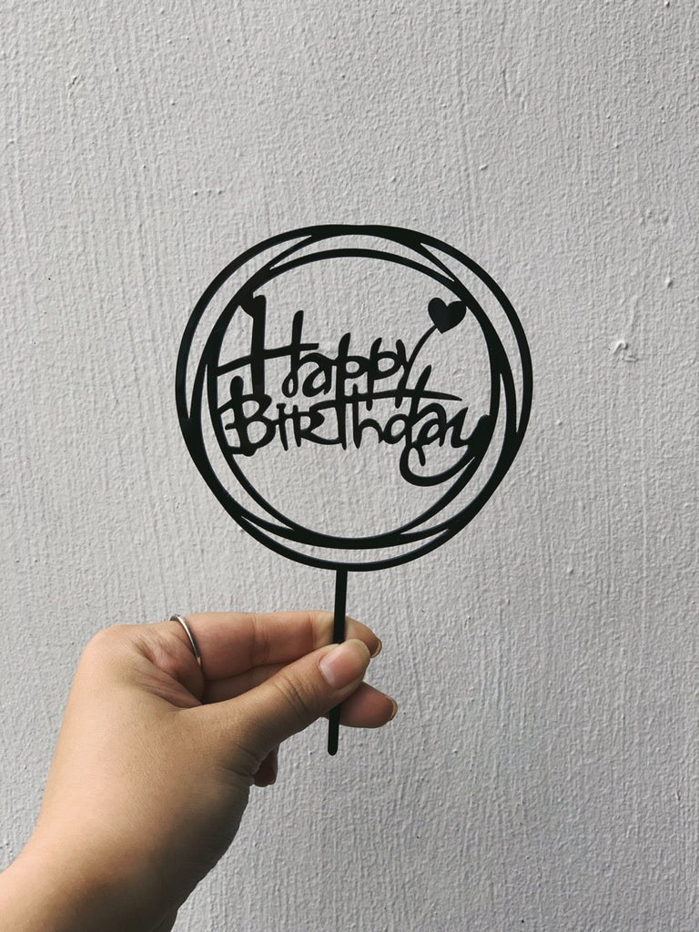 Round Happy Birthday Topper (Black)