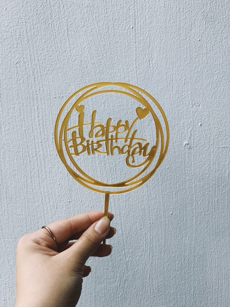 Round Happy Birthday Topper (Gold)