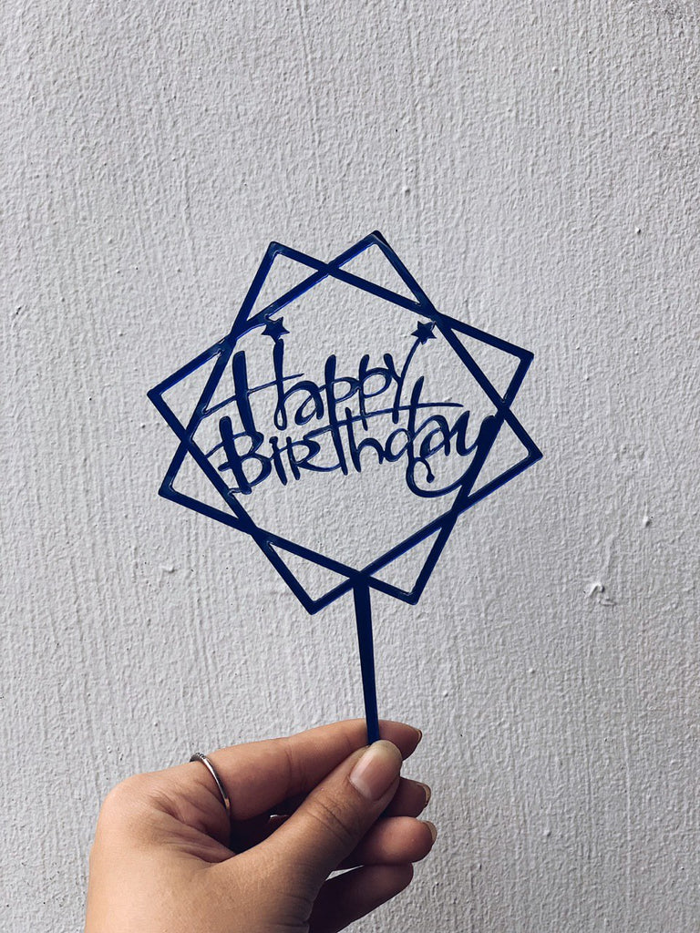 Square Happy Birthday Topper (Blue)