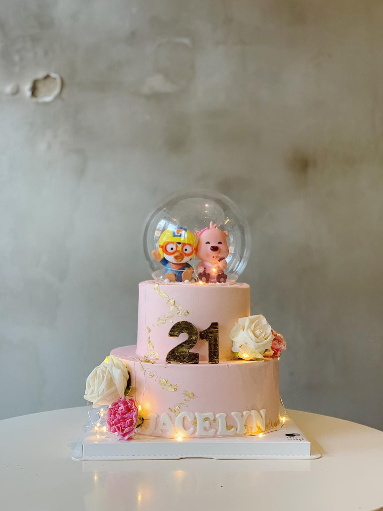 Pororo & Loopy Crystal Glass Cake