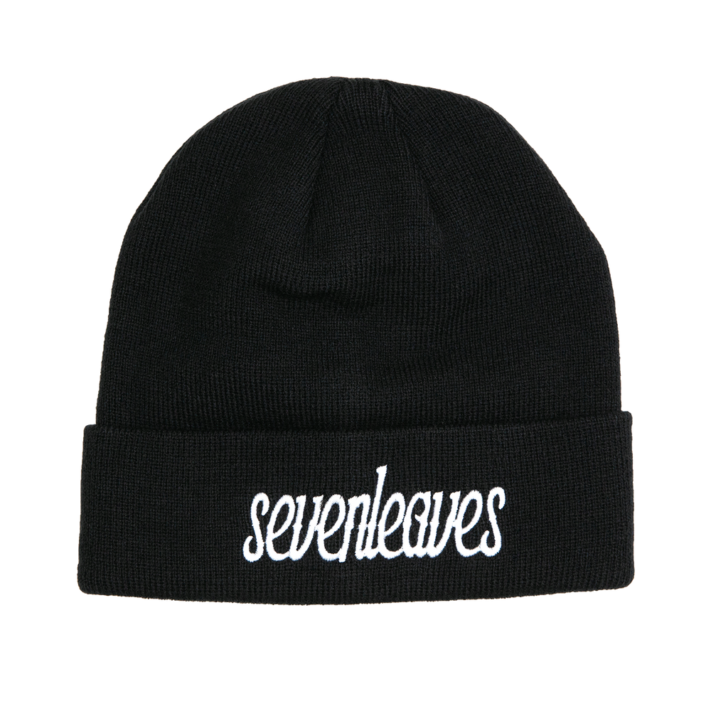 Seven Leaves Black Beanie