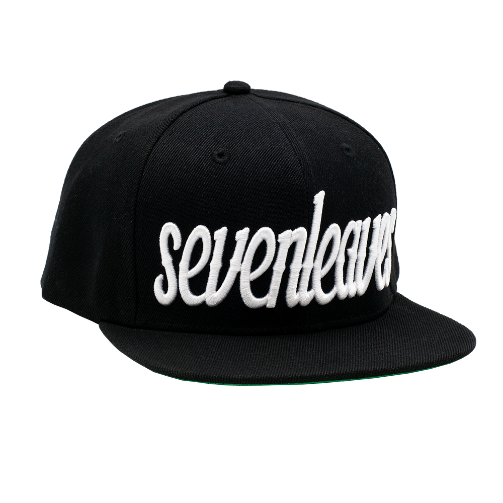 Black/White Seven Leaves Snapback