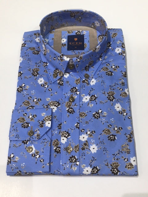 Ecer Blue/Brown Flower Shirt