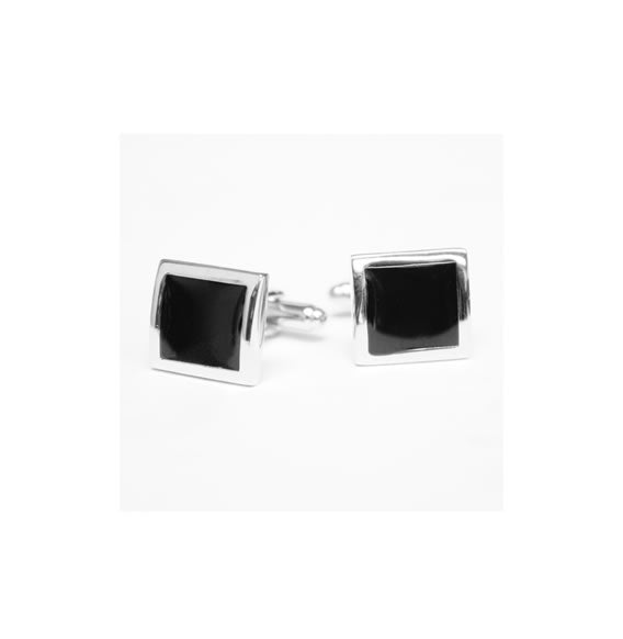 MATTEO BLACK WITH SILVER TONE CUFFLINKS
